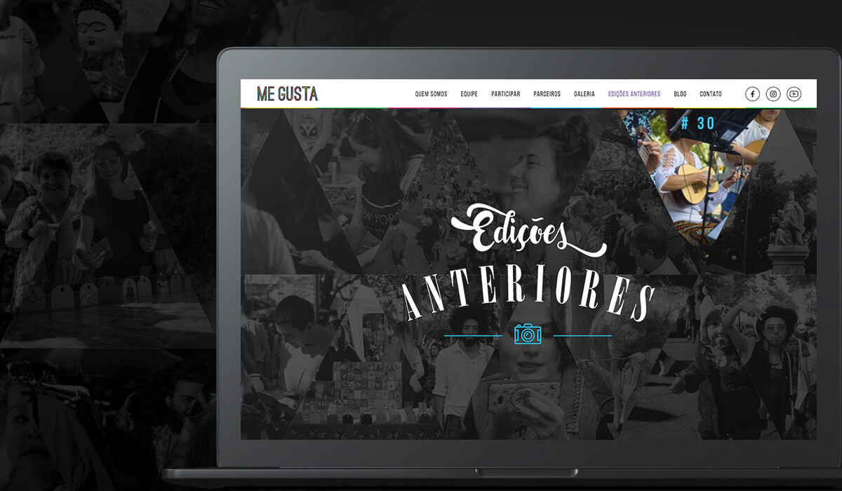 A laptop screen with the section that brings the past editions of the Me Gusta Fair