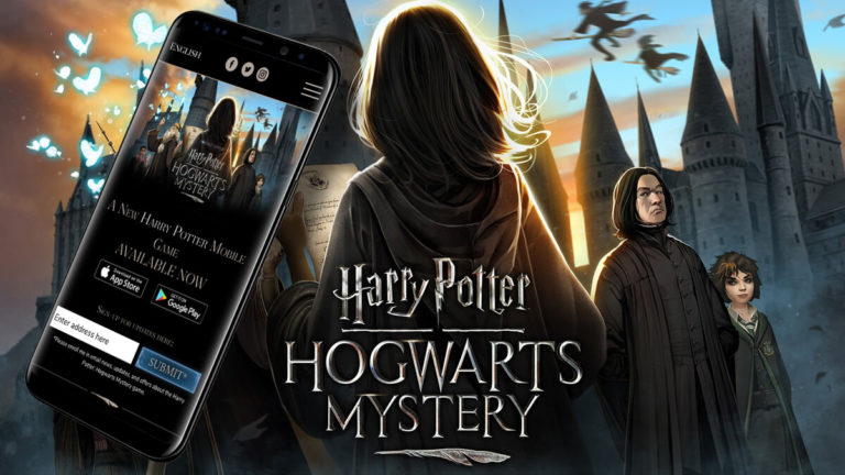 Smartphone showing the homepage of Harry Potter - Hogwarts Mystery's website