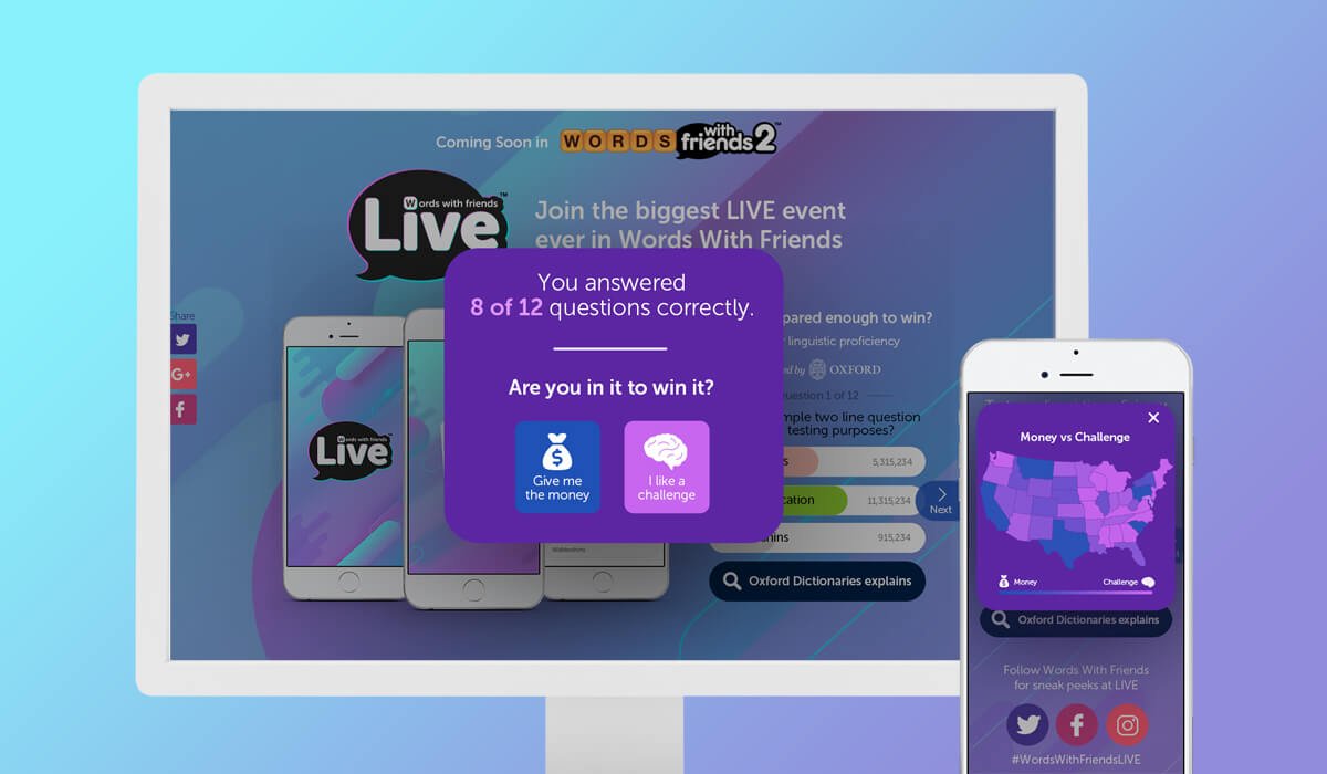 Uma tela de desktop e um smartphone mostrando a interface do jogo Words With Friends Live