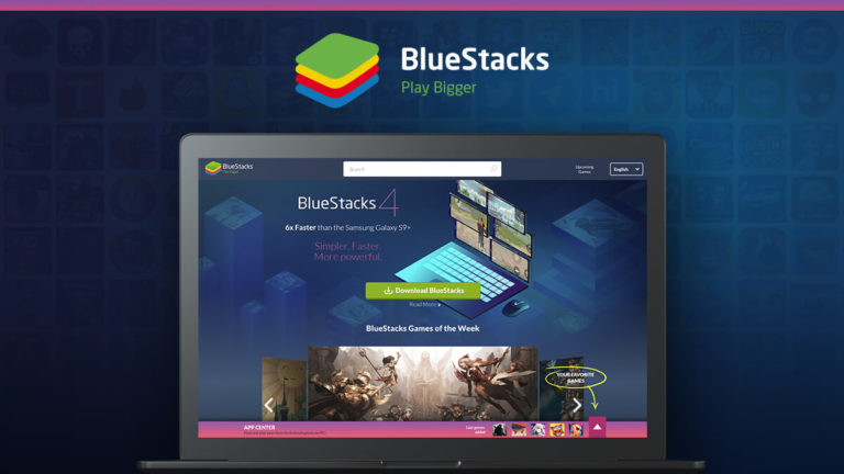 Notebook mostrando o site da Bluestacks