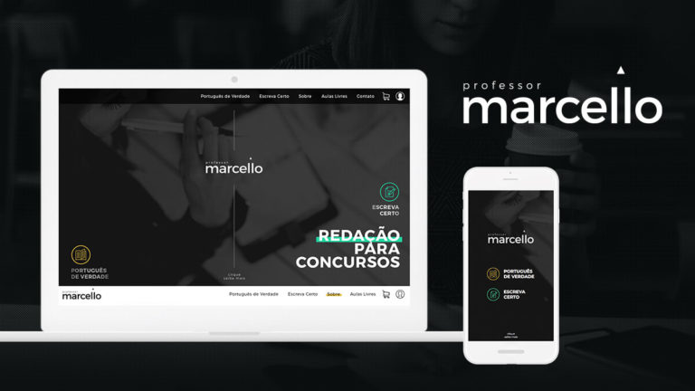 Notebook e smartphone mostrando o site do Professor Marcello