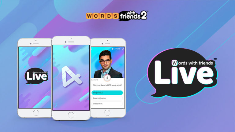 Three smartphones showing the game Words With Friends Live