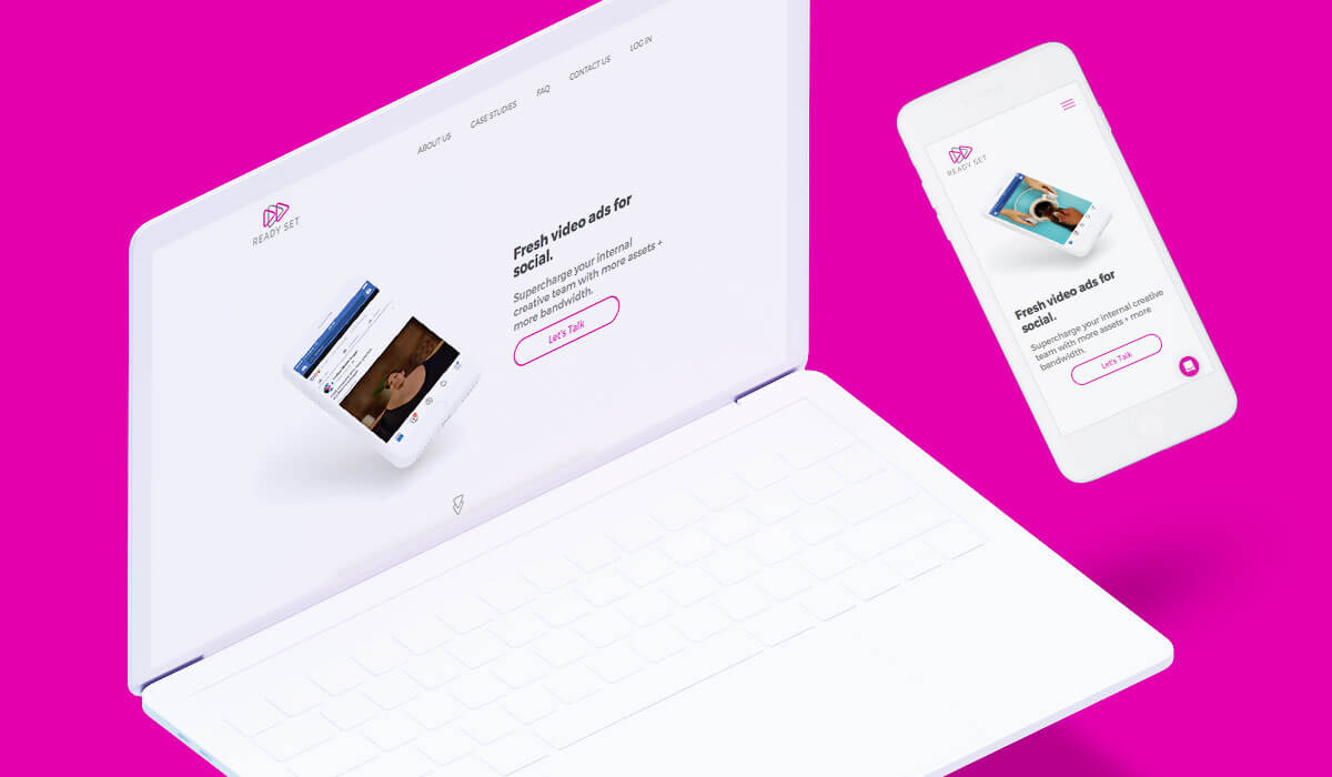 Banner showing the homepage of Ready Set's website in a notebook and in a cellphone