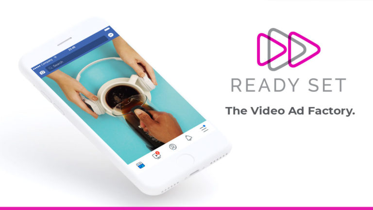 Smartphone showing an example of a video ad created by Ready Set in the Facebook feed